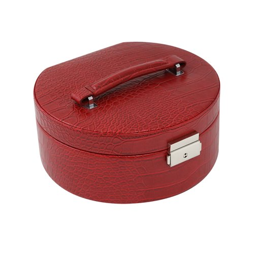 Red Croco Leatherette Round Jewelry Box with Removable Valet, Mirror, Slots for Rings, Multi Compartments and Locking Clasp