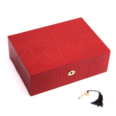 Red Croco Design Wood Jewelry Box with Valet Tray and Key Lock