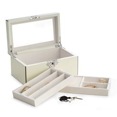 White Lacquered Wood 3 Level Jewelry Box with Slots for Rings, Mirror Under Lid and Locking Clasp