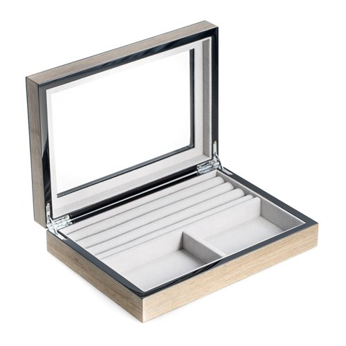 Lacquered Silver Walnut Wood Valet Box with Glass Top, Slots for Cufflinks and Magnetic Closure