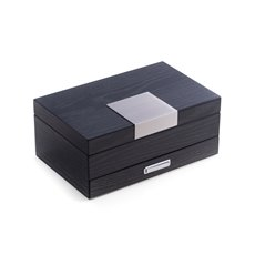 Steel Gray Lacquered 2 Level Jewelry Box with Drawer, Slots for Rings, Hooks Under Lid, Soft Velour Lining and Stainless Steel Accents