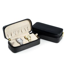 Black Lizard Leather Watch and Bracelet Case with Soft Velour Lining and Zipper Closure