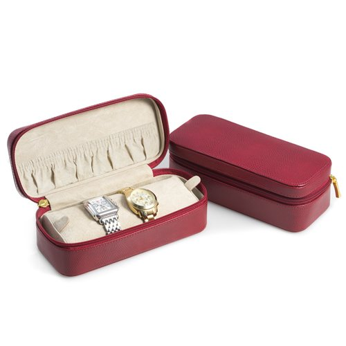 Red Lizard Leather Watch and Bracelet Case with Soft Velour Lining and Zipper Closure