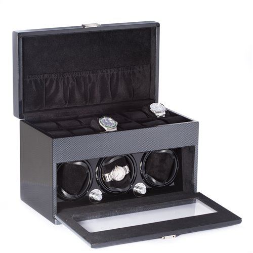 Lacquered Carbon Fiber Steel Gray 3 Watch Winder with Multiple Pre-programed Settings and Storage for 12 Watches