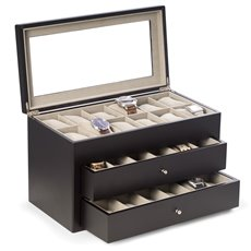 Matte Black Wood 36 Watch Box with Glass Top and 2 Drawers, Velour Lining and Pillows