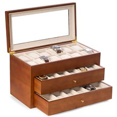 Cherry Wood 36 Watch Box with Glass Top and 2 Drawers, Velour Lining and Pillows