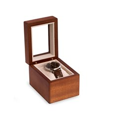 Cherry Wood Single Watch Box with Glass Top, Velour Lining and Pillow