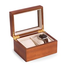 Cherry Wood 2 Watch Box with Glass Top, Velour Lining and Pillows