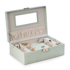 Aqua Blue Lizard Debossed Leather Jewelry Box with Soft Velour Lining, Mirror Under Lid and a Locking Clasp