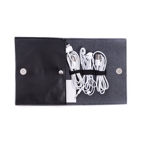 Black Leatherette Travel Charger Case and Accessories Pouch