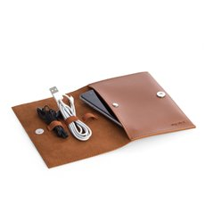 Brown Leatherette Travel Charger Case and Accessories Pouch