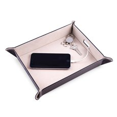 Brown Leather Valet and Charging Station with Pig Skin Leather Lining Continent Side Openings for Easy Charging Cord Pass-thru