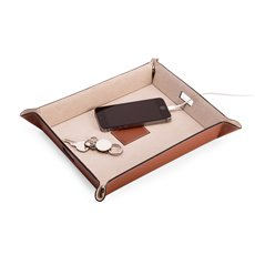 Saddle Brown Leather Valet and Charging Station with Pig Skin Leather Lining Continent Side Openings for Easy Charging Cord Pass-thru