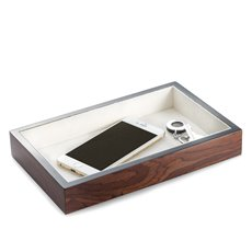 Lacquered Brown Burl Wood Open Face Valet Tray