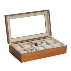 Cherry Wood Six Watch and Four Pocket Watch Storage Box with Glass Top and Soft Velour Lining