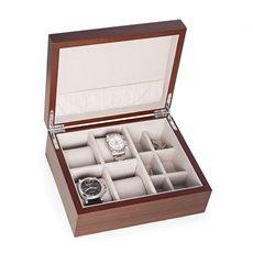 4 Watch and 6 Cufflink Storage Box in Walnut Matt Finish