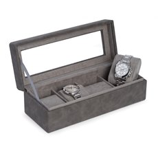 4 Watch Storage Case in Grey with Soft Velour Lining Watch Compartments Can Accommodate up to 48mm Watches