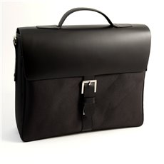 Black Leather and Ballistic Nylon Briefcase with Multi Compartments and Shoulder Strap