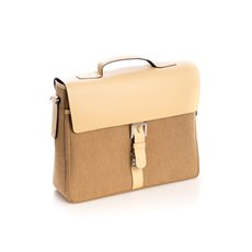 Ivory Leather and Khaki Fabric Briefcase with Multi Compartments and Shoulder Strap