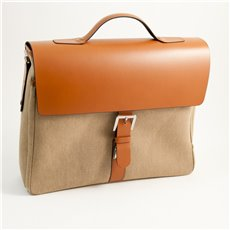 Saddle Leather and Khaki Fabric Briefcase with Multi Compartments and Shoulder Strap