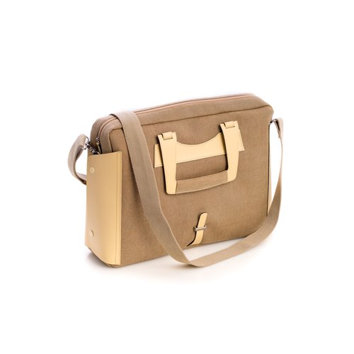 Ivory Leather and Khaki Fabric Briefcase with Padded Computer Compartment and Shoulder Strap