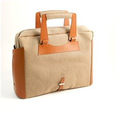 Saddle Leather and Khaki Fabric Briefcase with Padded Computer Compartment and Shoulder Strap