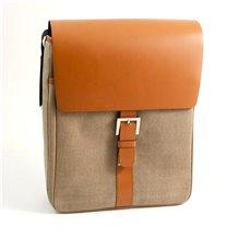 Saddle Leather and Khaki Fabric Messenger Bag with Shoulder Strap