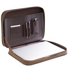 Brown Ultra Suede and Leather Computer Carrying Case with Accessory Compartments and Zipper Closure