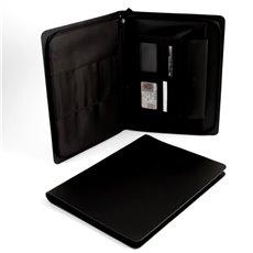 Black Leather Portfolio with Multi Compartments and Zipper Closure
