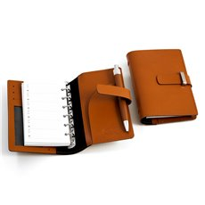 Saddle Leather Agenda Book with Ball Point Pen, Six Ring Binder, Slots for Cards and ID Window
