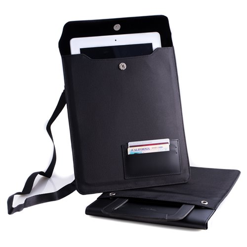 Black Leather and Ballistic Nylon Tablet Carrying Case with Hide-away handle and Adjustable Shoulder Strap