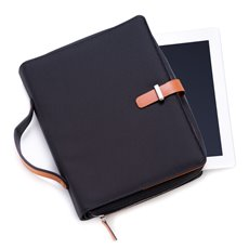 Saddle Leather and Ballistic Nylon Tablet Carrying Case with Multi Compartment Portfolio and Zippered Closure