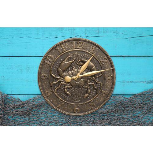 """Crab Sea Life 16"""" Indoor Outdoor Wall Clock, Bronze Gold"""