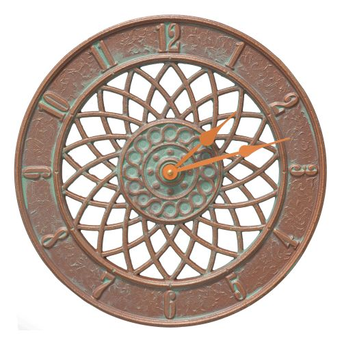 "Spiral 14"" Indoor Outdoor Wall Clock , Copper Verdigris"