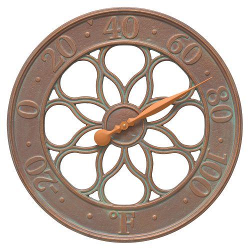 """Medallion 18"""" Indoor Outdoor Wall Clock, Copper Verdigris"""