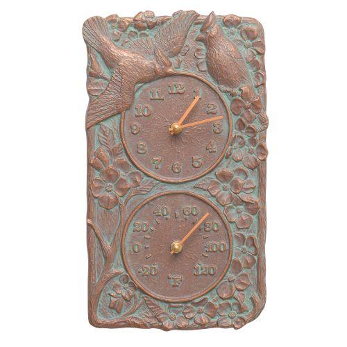 Cardinal Indoor Outdoor Wall Clock & Thermometer , Copper Verdigris