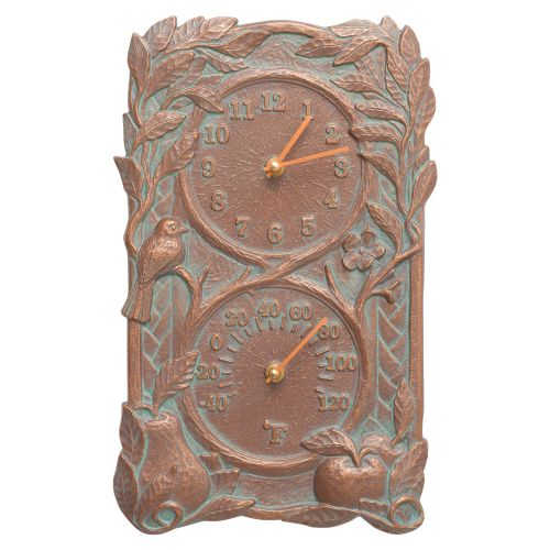 Fruit Bird Indoor Outdoor Wall Clock & Thermometer, Copper Verdigris
