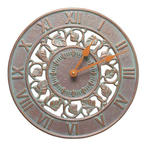 """Ivy 12"""" Indoor Outdoor Wall Clock, Copper Verdigris"""