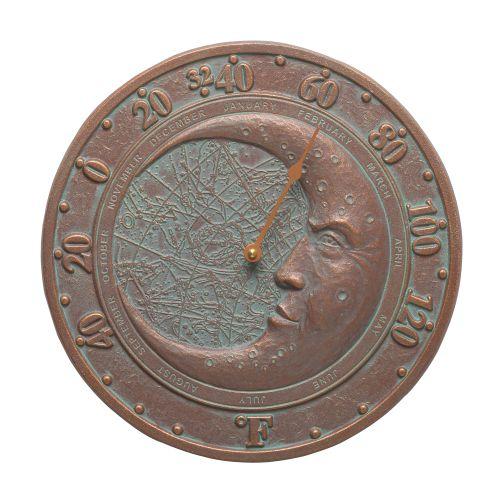 """Moon 12"""" Indoor Outdoor Wall Thermometer, Copper Verdigris"""