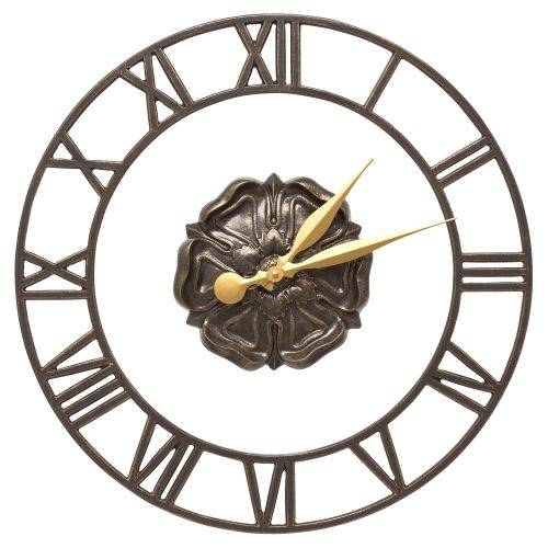 "Rosette Floating Ring 21"" Indoor Outdoor Wall Clock , French Bronze"