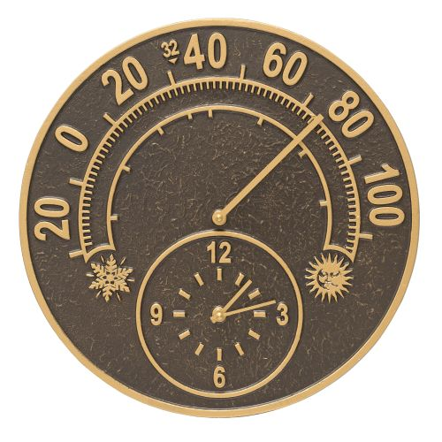 """Solstice 14"""" Indoor Outdoor Wall Clock & Thermometer, French Bronze"""