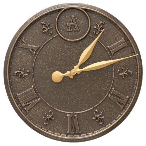 """Monogram 16"""" Indoor Outdoor Wall Clock, French Bronze"""