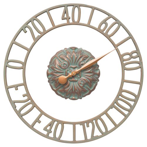 "Cambridge Floating Ring 21"" Indoor Outdoor Wall Thermometer, Copper Verdigris"