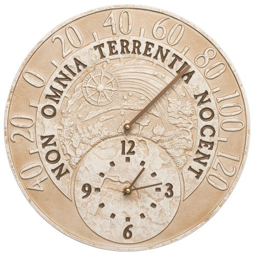 "Celestial 14"" Indoor Outdoor Wall Clock & Thermometer, Weathered Limestone"