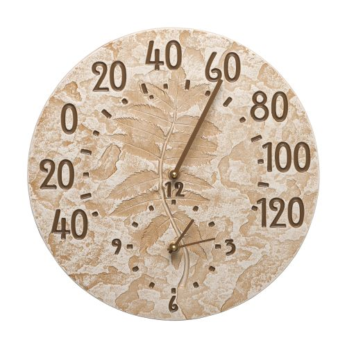 "Sumac 14"" Indoor Outdoor Wall Clock & Thermometer, Weathered Limestone"