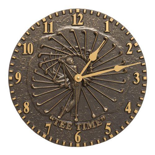 """Golfer 12"""" Indoor Outdoor Wall Clock, French Bronze"""