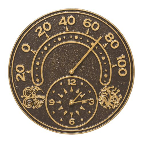 "Sun And Wind 14"" Indoor Outdoor Wall Clock & Thermometer, Dark Bronze / Gold"