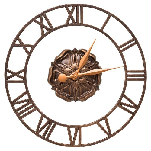 """Rosette Floating Ring 21"""" Indoor Outdoor Wall Clock , Antique Copper"""