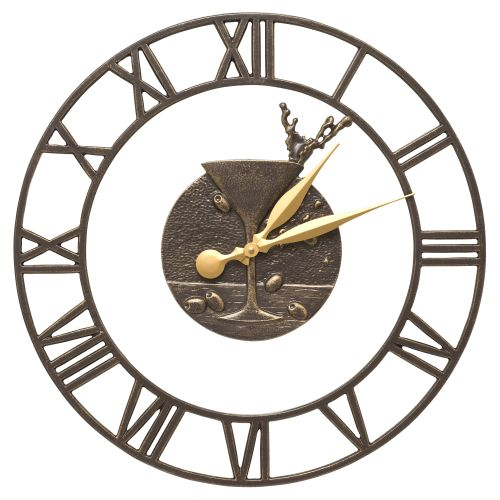 "Martini Floating Ring 21"" Indoor Outdoor Wall Clock , French Bronze"