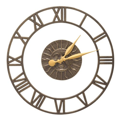 "Sunface Floating Ring 21"" Indoor Outdoor Wall Clock , French Bronze"
